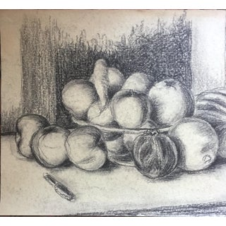 1950's Charcoal Still Life Bowl of Plenty