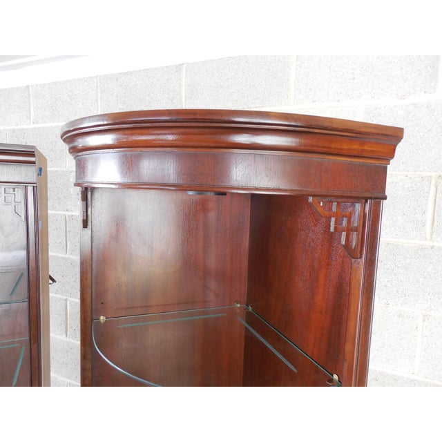 Drexel Chippendale Mahogany Lighted Corner Cabinets - A Pair - Image 4 of 10