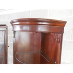 Image of Drexel Chippendale Mahogany Lighted Corner Cabinets - A Pair