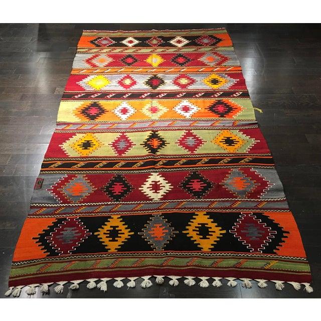 "Vintage Turkish Kilim Patterned Rug - 6'2""x11'3"" - Image 2 of 9"