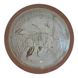 1970s David Westmeier Naturalistic Branch and Leaf Design Stoneware Pottery Ceramic Plate