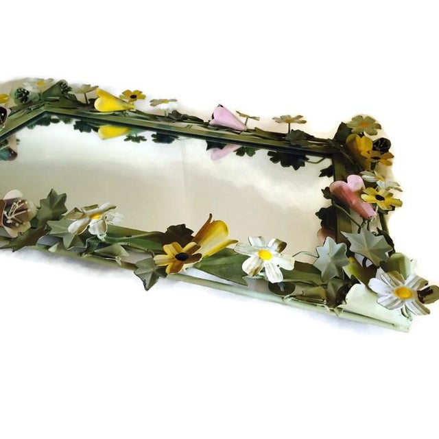 Vintage French Metal Tole Ware Flower Mirror - Image 4 of 6