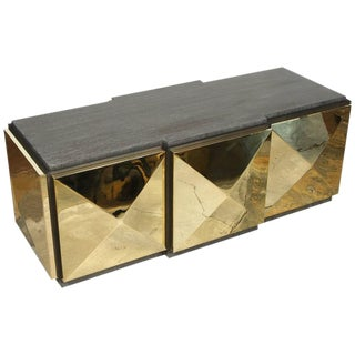 Paul Marra Brass Tile Cocktail Table