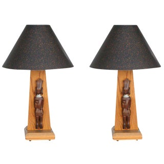 Mid-Century Table Lamp with African Carving