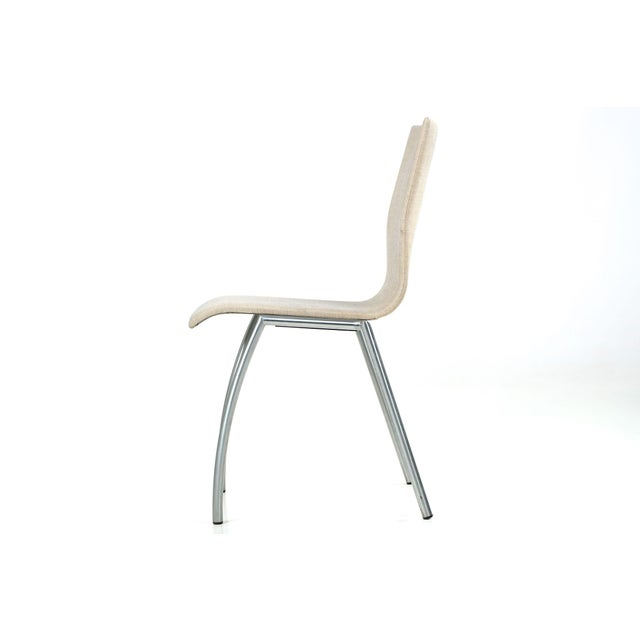 Danish Modern Brushed Steel Side Chair by Kvist - Image 2 of 11