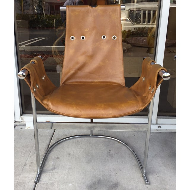 1970's Chrome and Faux Leather Chairs- Set of Four - Image 5 of 7