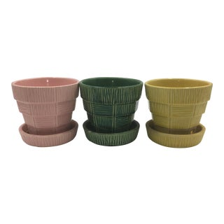 Pink, Green & Yellow McCoy Planters - Set of 3