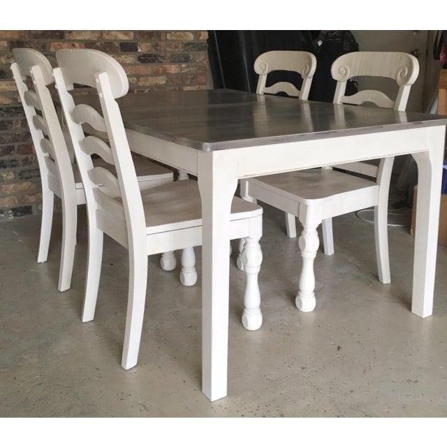 Rustic Pine Wood Dining Set - Image 3 of 10