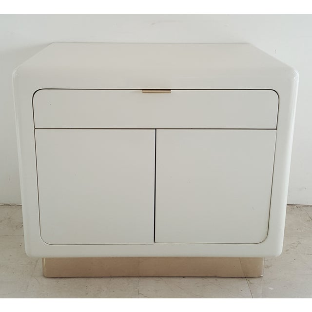 Image of 1970's Lacquered & Brass Plinth Side Cabinet