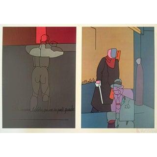 Valerio Adami, Derrière Le Miroir, No. 206 Page, 1973 Lithograph