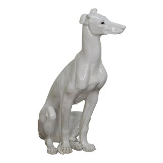 Vintage Italian Glazed Ceramic Life Size Whippet Greyhound Dog Statue