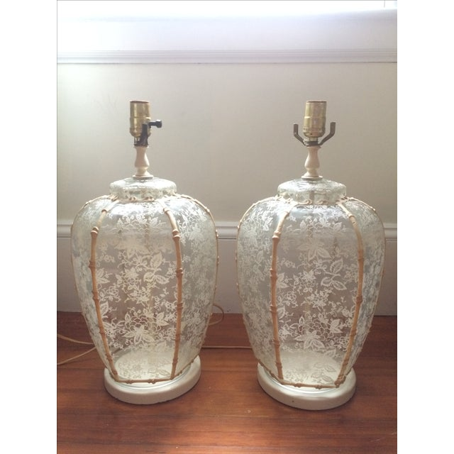 1960's Hollywood Regency Lace Glass Lamps - A Pair - Image 2 of 5