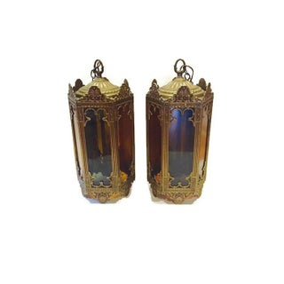 Mid-Century Cathedral Style Brass Gothic Swag Lamps - Pair