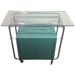 Vintage Metal & Glass-Top Bar Cart