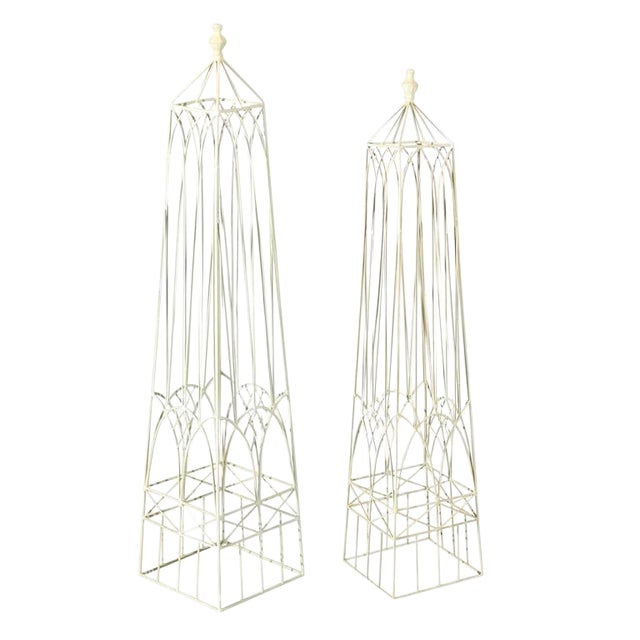 White Garden Obelisks - A Pair - Image 1 of 8