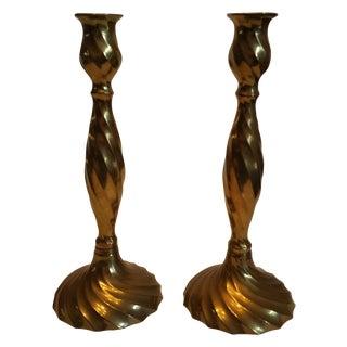 Vintage Spiral Twisted Brass Candlesticks - A Pair