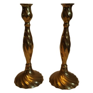 Vintage Spiral Twisted Brass Candlesticks - A Pair