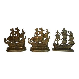Vintage Ship Bookends - Set of 3