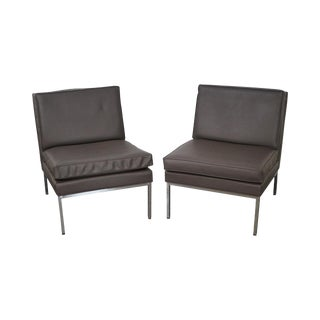 Milo Baughman for Thayer Coggin Chrome Frame Lounge Chairs- A Pair