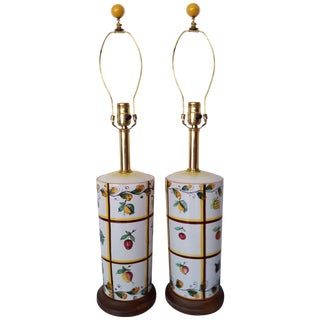 Marbro Hand Painted Ceramic Lamps - Pair