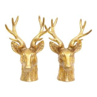 Large Gilt Ceramic Gold Deer Bust Statue - A Pair