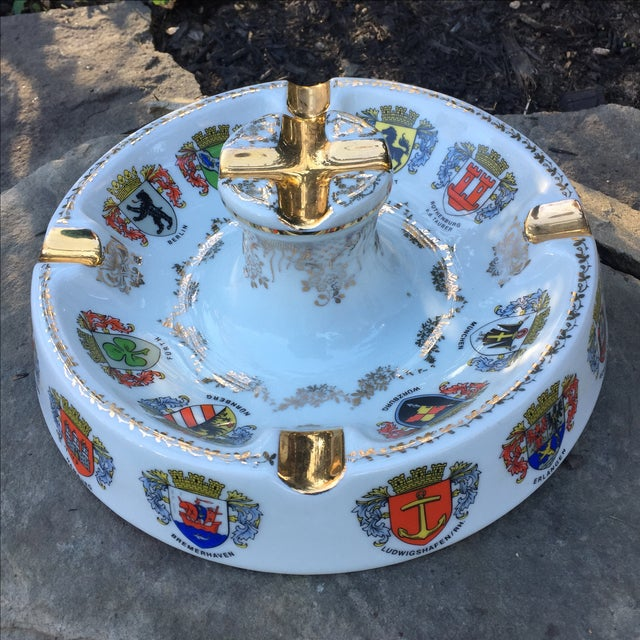 Vintage Ansbach German Crest Gold Ash Tray - Image 5 of 7