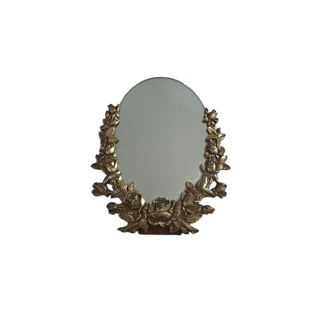 Vintage Brass Floral Mirror - Image 2 of 6