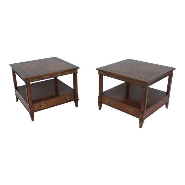 Image of 1960s Baker Tiered Nightstands - A Pair