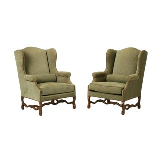 Vintage French Os De Mouton Wingback Armchairs - A Pair