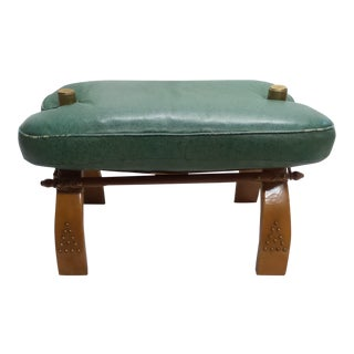 Vintage Camel Saddle Stool with Teal Cushion