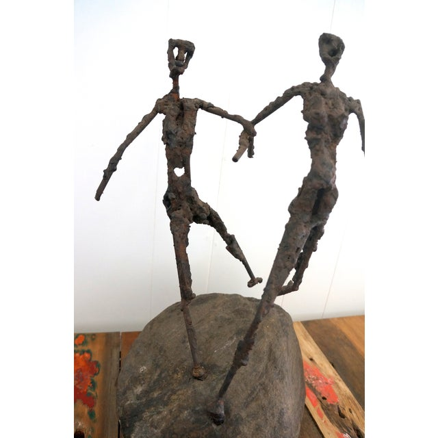 Brutalist Giacometti Metal And Stone Sculpture - Image 4 of 5