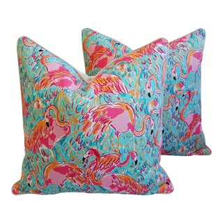 "24"" X 24"" Lilly Pulitzer-Inspired/Style Tropical Pink Flamingo Pillows - Pair"