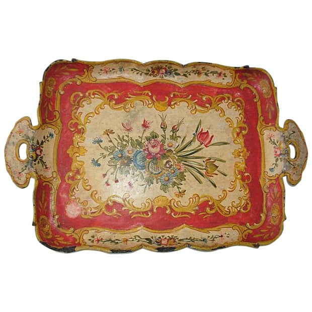 Image of Red Japanese Floral Tray