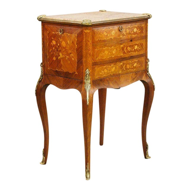 Antique Fine French Marble Top Gilt Bronze Mounted Inlaid Bar Liquor Cabinet - Image 1 of 11