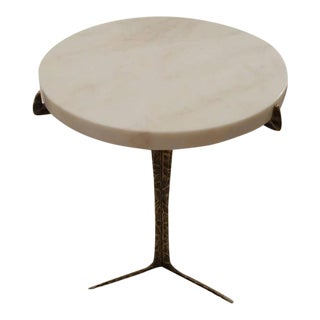 Round Marble Top Brass Base Cocktail Table, Portugal, Contemporary