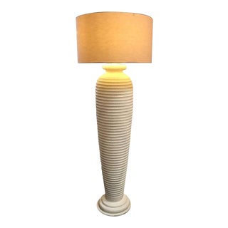 Cream Textured Plaster, 1980s Floor Lamp