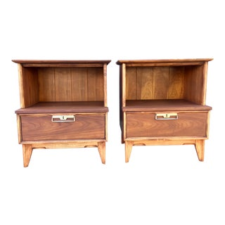 Mid-Century Teak & Oak Nightsands - A Pair