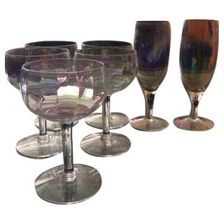 Mid-Century Iridescent Crystal Champagne Coupes & Flutes - S/7