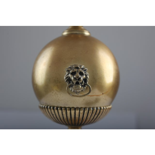 Image of Neo Classical Early Stiffel Brass Lamp With Milk Glass Torchiere and Original Shade