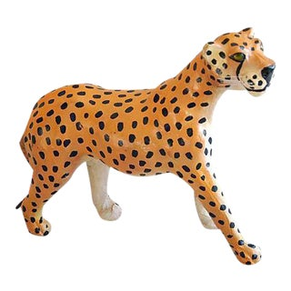 1970s Hand-Painted Leather Cheetah Figurine