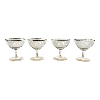 Mid-Century Silver Rimmed Champagne Glasses - Set of 4