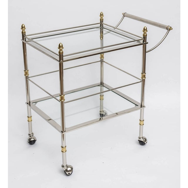 Image of Nickel and Brass Bar/Serving Cart