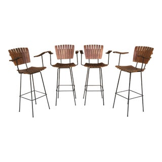 Arthur Umanoff Mid-Century Vintage Tall Bar Stool Chairs - Set of 4