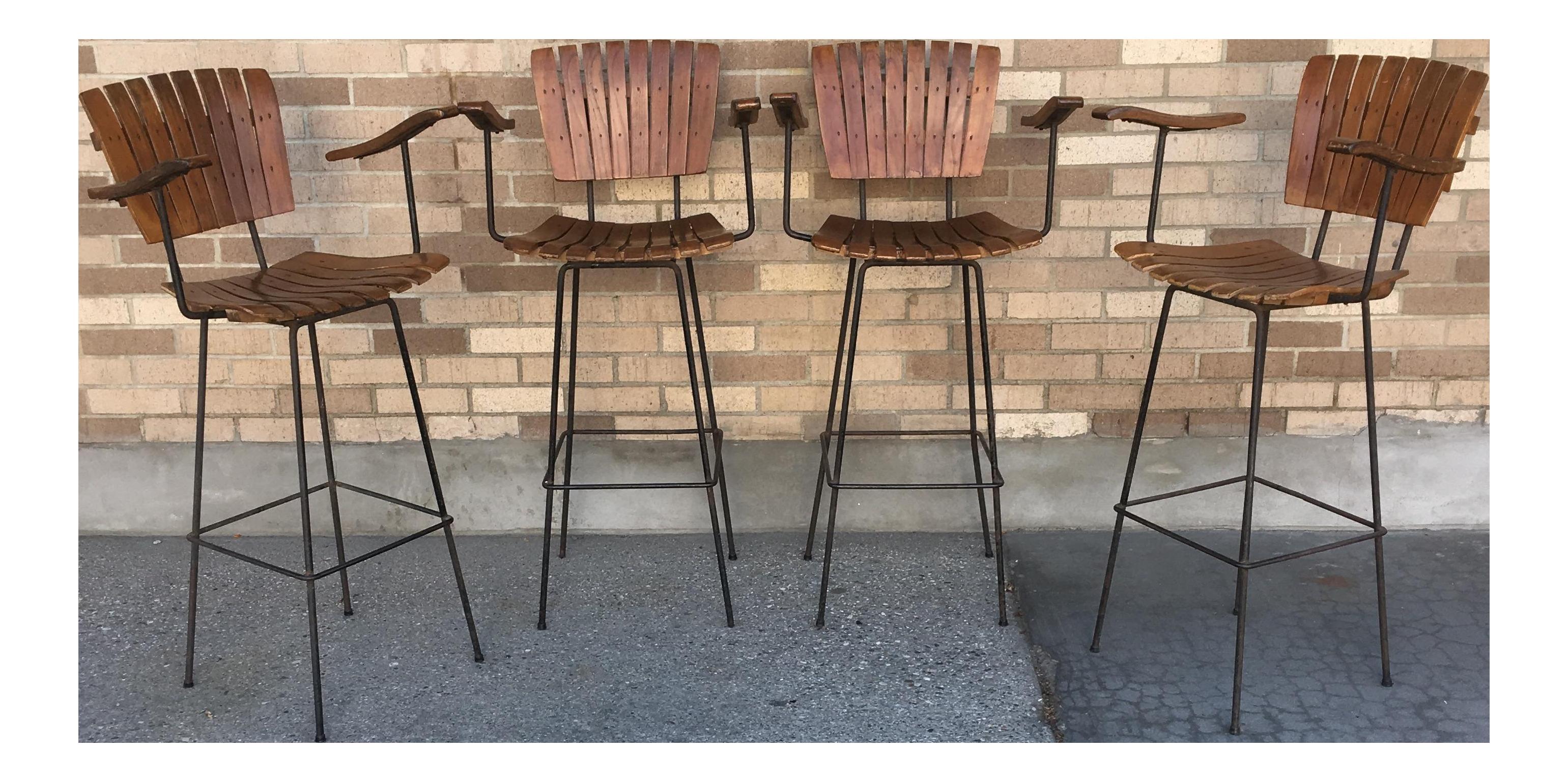 arthur umanoff midcentury vintage tall bar stool chairs set of 4