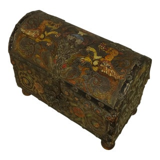 Polychrome Tooled Leather Italian Domed Box