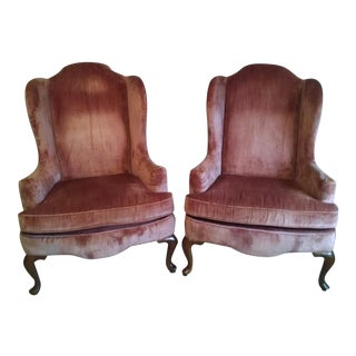 Highland House of Hickory Queen Anne Rose Velvet Wingback Chairs - a Pair
