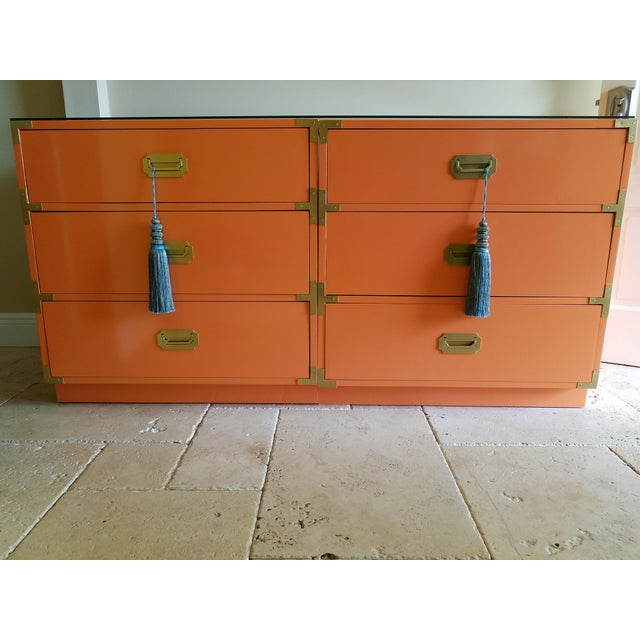 Orange Campaign Style Nightstands - A Pair - Image 2 of 8
