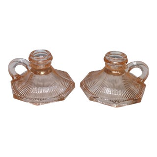 Vintage Pink Depression Glass Candle Holders - Pair