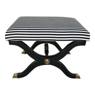 Hollywood Regency Black & White Striped Stool