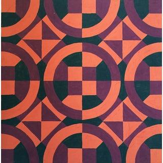 Mid-Century Geometric Pattern Painting